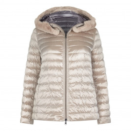ELENA MIRO REVERSIBLE WHITE LABEL PUFFA COAT WITH FUR HOOD - Plus Size Collection