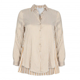 ELENA MIRO GOLD STRIPE SILK BLEND SHIRT - Plus Size Collection