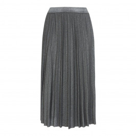 ELENA MIRO PLEATED LUREX SKIRT SILVER - Plus Size Collection