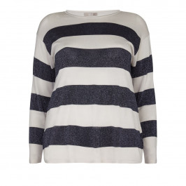 ELENA MIRO navy striped lurex SWEATER - Plus Size Collection