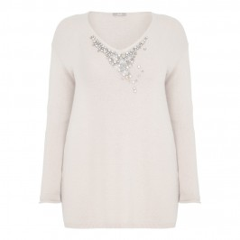 ELENA MIRO BLONDE CASHMERE BLEND EMBELLISHED SWEATER - Plus Size Collection