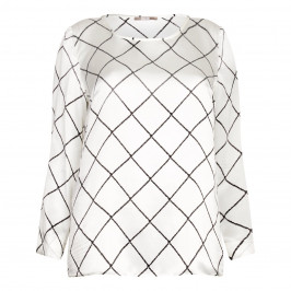 ELENA MIRO silk satin grid print TOP - Plus Size Collection