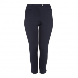 ELENA MIRO NAVY ANKLE GRAZER TROUSER - Plus Size Collection
