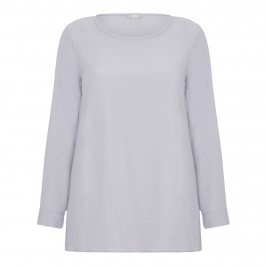 ELENA MIRO SILVER GREY SILK CREPE TUNIC WITH SILVER STUDS - Plus Size Collection