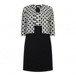 ELENA MIRO BLACK JACQUARD POLKA DOT DRESS+JACKET - Plus Size Collection
