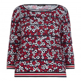 ELENA MIRO floral print SWEATER with stripes - Plus Size Collection