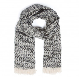 ELIZA GRACIOUS TWEED-STYLE SCARF BLACK AND WHITE - Plus Size Collection
