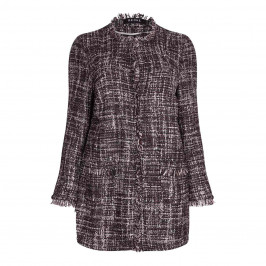 BEIGE label bordeaux tweed LONG JACKET - Plus Size Collection