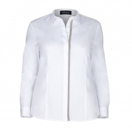 BEIGE LABEL WHITE SILVER APPLIQUE SHIRT - Plus Size Collection