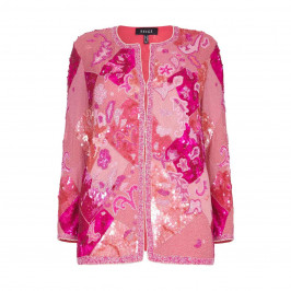 BEIGE label pink silk beaded and sequinned JACKET - Plus Size Collection
