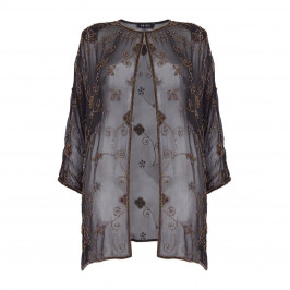 BEIGE label black sheer beaded Jacket - Plus Size Collection