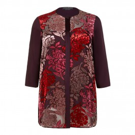 Marina Rinaldi bordeaux print silk devore blouse with camisole - Plus Size Collection