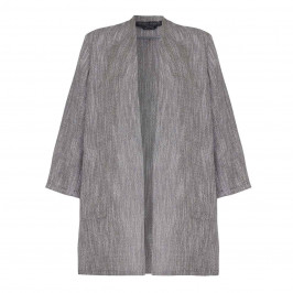 Marina Rinaldi LONG grey linen collarless JACKET - Plus Size Collection