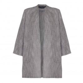 Marina Rinaldi LONG grey linen collarless JACKET - Plus Size Collection