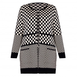 FABER LONGLINE CHECKERBOARD INTARSIA CARDIGAN - Plus Size Collection