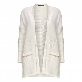 FABER WHITE AND GOLD RIBBED CARDIGAN - Plus Size Collection
