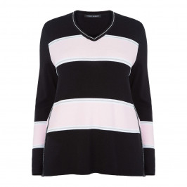 FABER V NECK STRIPE SWEATER LUREX TRIM - Plus Size Collection