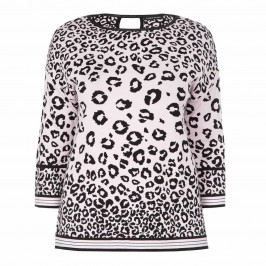 FABER PINK LEOPARD PRINT INTARSIA SWEATER - Plus Size Collection