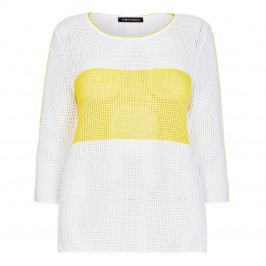 FABER CROCHET SWEATER WHITE WITH YELLOW BAND - Plus Size Collection