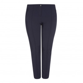 FABER FRONT FASTEN STRETCH JERSEY TROUSER NAVY - Plus Size Collection