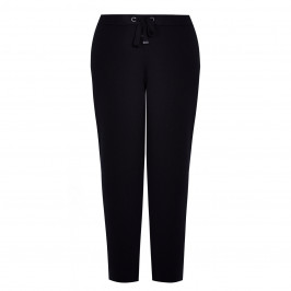 FABER STRETCH JERSEY DRAWSTRING WAIST TROUSERS BLACK - Plus Size Collection