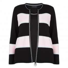 FABER BLACK AND PINK STRIPE TWINSET WITH SILVER  - Plus Size Collection