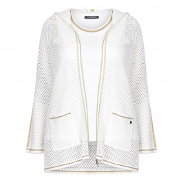 FABER TWINSET WHITE MESH HOODY AND VEST GOLD LUREX TRIM - Plus Size Collection