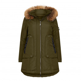FRANDSEN KHAKI PUFFER FUR TRIM HOOD - Plus Size Collection