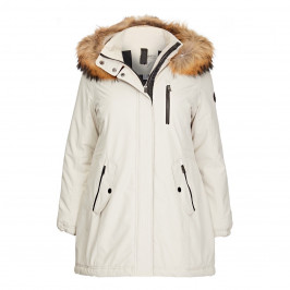 FRANDSEN WHITE PUFFER FUR TRIM HOOD - Plus Size Collection
