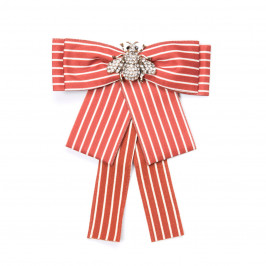 GIUNO SATIN PINSTRIPE BEE BROOCH RUST - Plus Size Collection