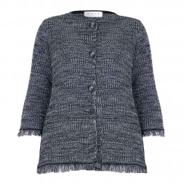 GAIA grey mélange fringe hem knitted jacket