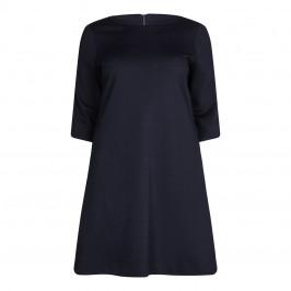 GAIA navy punto milano DRESS with velvet trim - Plus Size Collection