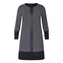 GAIA HOUNDSTOOTH DRESS WITH FAUX-LEATHER FRONT SEAM - Plus Size Collection