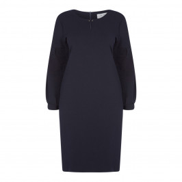 GAIA NAVY DRESS WITH LUREX SIDE STRIPE - Plus Size Collection