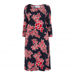 GAIA NAVY FLORAL PRINT DRESS TULIP CUFF - Plus Size Collection