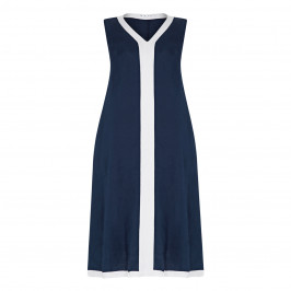 GAIA V-NECK LINEN DRESS NAVY AND WHITE