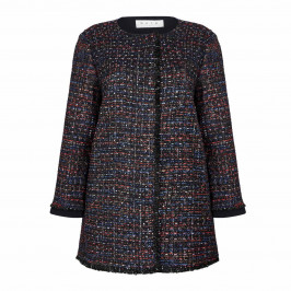 GAIA tweed long JACKET with lurex thread