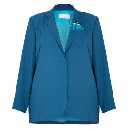 GAIA SINGLE BREASTED BLAZER TEAL - Plus Size Collection