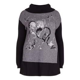 GAIA KNITTED heart print TUNIC - Plus Size Collection