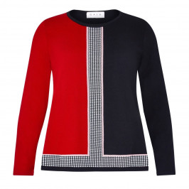 GAIA JACQUARD SWEATER RED AND BLACK - Plus Size Collection