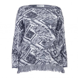 Gaia grey print knit SWEATER with fringe hem - Plus Size Collection