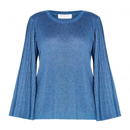 GAIA LUREX SWEATER PLEATED SLEEVE TEAL