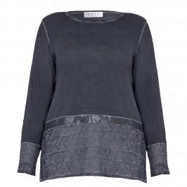 Gaia slate grey top with embellished hem