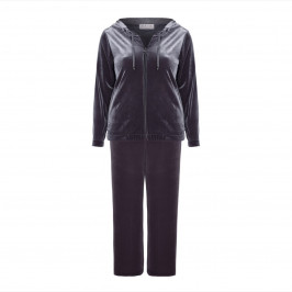 GAIA GUN METAL GREY VELVET TRACKSUIT WITH LUREX DETAILING  - Plus Size Collection