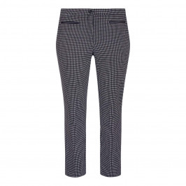 GAIA HOUNDSTOOTH TROUSER FRONT FASTEN ANKLE GRAZER - Plus Size Collection