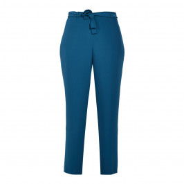 GAIA TROUSERS WITH FABRIC BELT TEAL - Plus Size Collection