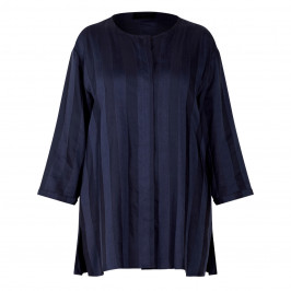 QNEEL STRIPE LONG JACKET NAVY - Plus Size Collection