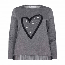 GAIA GREY TUNIC WITH LARGE EMBELLISHED HEART EMBLEM