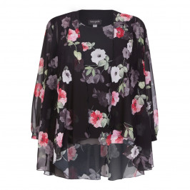 GEORGEDÉ black rose print chiffon TWINSET - Plus Size Collection