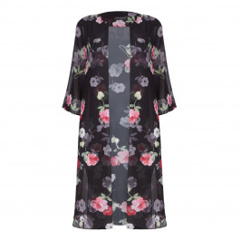 GEORGEDÉ black floral print Duster - Plus Size Collection